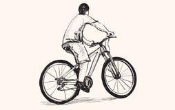 Bosquejo de un hombre y de una bicicleta, dibujo de la carta blanca, vector Foto de archivo