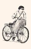 Bosquejo de un paseo de la mujer con la bicicleta, dibujo de la carta blanca Imagenes de archivo