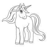 Bosquejo de un unicornio para colorear ilustración del vector