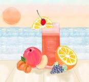 Bosquejo de un vidrio de limonada con las frutas en la opinión de la puesta del sol Imagen de archivo