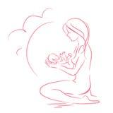 Bosquejo de una muchacha con un bebé Imagen de archivo libre de regalías