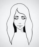 Bosquejo de una mujer hermosa. Vector dibujado mano ilustración del vector