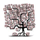 Bosquejo del árbol de familia con los retratos de la gente para su ilustración del vector