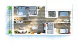 Bosquejo del apartamento del plan de piso Imagenes de archivo