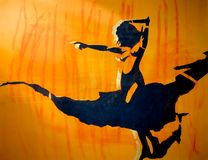 Bosquejo del arte de una mujer atractiva hermosa joven con las tetas al aire y en falda transparente stock de ilustración