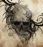 Bosquejo del arte del tatuaje, cráneo con flourishes tribales stock de ilustración