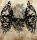 Bosquejo del arte del tatuaje, cráneos Imagen de archivo