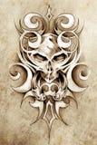 Bosquejo del arte del tatuaje, diseño del monstruo con tribal ilustración del vector