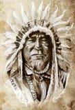 Bosquejo del arte del tatuaje, indio del nativo americano Fotografía de archivo libre de regalías