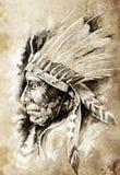 Bosquejo del arte del tatuaje, indio del nativo americano stock de ilustración