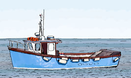 Bosquejo del barco con el terraplén de color Fotos de archivo libres de regalías