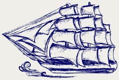 Bosquejo del barco de vela Imagen de archivo