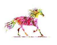 Bosquejo del caballo con el ornamento floral para su diseño. Foto de archivo