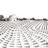Bosquejo del campo de granja del vector, pueblo dibujado mano libre illustration