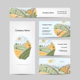 Bosquejo del campo del otoño, diseño de las tarjetas de visita Foto de archivo