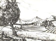 Bosquejo del campo Ilustración stock de ilustración