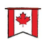 Bosquejo del canadiense del banderín de la bandera Fotografía de archivo