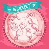 Bosquejo del caramelo Cartel de la vendimia Color de rosa y azul Foto de archivo