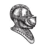 Bosquejo del casco del caballero Ilustración del vector Imagenes de archivo