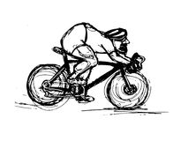 Bosquejo del ciclista stock de ilustración