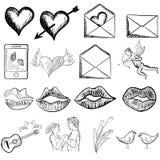 Bosquejo del día de tarjetas del día de San Valentín Imagen de archivo libre de regalías