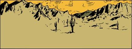 Bosquejo del desierto de Sonaran con las nubes dispersadas libre illustration