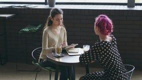 Bosquejo del dibujo de la mujer y el hablar con el amigo en el café metrajes
