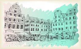 Bosquejo del dibujo del scape de la ciudad en el vector céntrico de Polonia Fotos de archivo