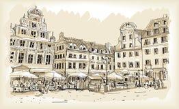 Bosquejo del dibujo del scape de la ciudad en el vector céntrico de Polonia ilustración del vector