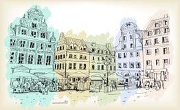 Bosquejo del dibujo del scape de la ciudad en el vector céntrico de Polonia Imagen de archivo