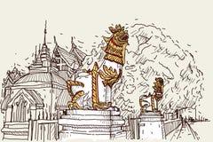 Bosquejo del dibujo del scape de la ciudad en Tailandia en el templo Prasat, SCU del león libre illustration