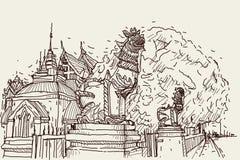 Bosquejo del dibujo del scape de la ciudad en Tailandia en el templo Prasat, SCU del león stock de ilustración