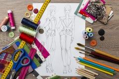 Bosquejo del diseño de la moda Fotografía de archivo