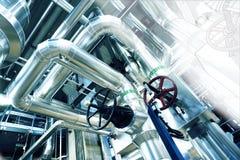 Bosquejo del diseño de la tubería con la foto del equipo industrial imagenes de archivo