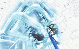Bosquejo del diseño de la tubería con la foto del equipo industrial Foto de archivo libre de regalías