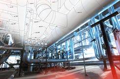 Bosquejo del diseño de la tubería con las fotos del equipo industrial imagen de archivo libre de regalías