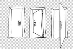 Bosquejo del drenaje de la mano de puertas en el fondo transparente del efecto Fotografía de archivo