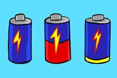 Bosquejo del drenaje de la mano del nivel de la batería stock de ilustración