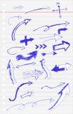 Bosquejo del drenaje de la mano, Pen Arrow azul Imágenes de archivo libres de regalías
