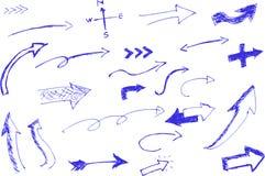 Bosquejo del drenaje de la mano, Pen Arrow azul Fotografía de archivo libre de regalías