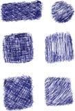 Bosquejo del drenaje de la mano, Pen Streak azul Fotografía de archivo