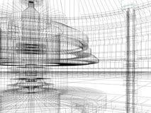Bosquejo del edificio de la tecnología stock de ilustración