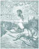Bosquejo del ejemplo de David and Goliath Fotos de archivo