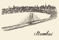 Bosquejo del ejemplo del vector del vintage del horizonte de Bombay ilustración del vector