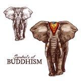 Bosquejo del elefante indio del animal de la religión del buddhism ilustración del vector