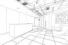 Bosquejo del esquema de un área de recepción interior Imagen de archivo
