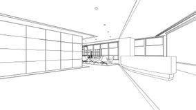 Bosquejo del esquema de un área de recepción interior Imagen de archivo libre de regalías