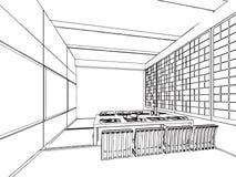 Bosquejo del esquema de un interior Imágenes de archivo libres de regalías