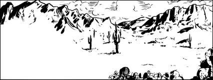 Bosquejo del esquema del desierto de Arizona con el cactus ilustración del vector