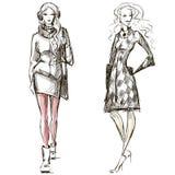 Bosquejo del estilo del invierno del ejemplo de la moda Imagen de archivo libre de regalías